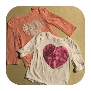 "2 Old Navy ""heart"" shirts Girls 18-24M"